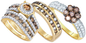 Cognac Diamond Bridal Rings