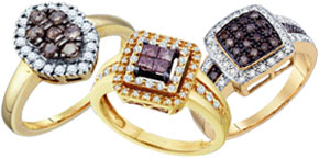 Cognac Diamond Fashion Rings