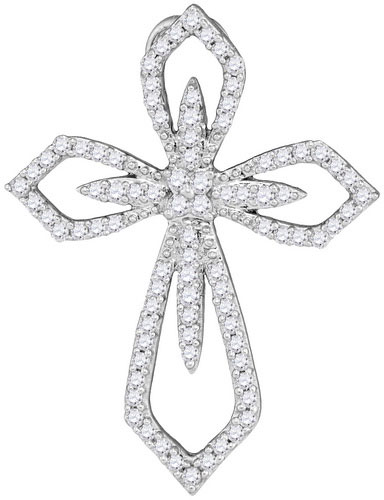 Ladies Diamond Cross Pendant 10K White Gold 0.40 cts. GD-104015