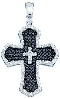 Diamond Cross Pendant 14K White Gold 0.73 cts. GD-51673