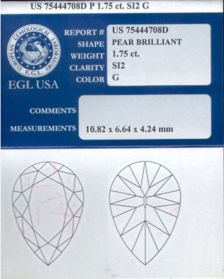 1.75 cts. Pear Brilliant Diamond G - SI2 EGL