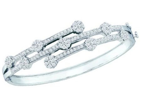 Ladies Diamond Bangle 14K White Gold 2.50 cts. GD-16274