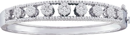 Ladies Diamond Flower Bangle 14K White Gold 2.40 cts. GD-34305