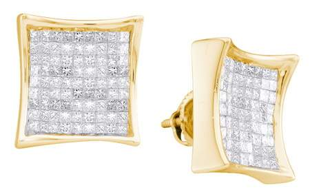 14K Yellow Gold Diamond Princess Earrings 2.00 ct. GD-10112