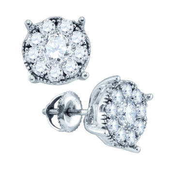 14K White Gold Diamond Cluster Earrings 0.35 cts. GD-73638