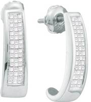 Diamond Cuff Earrings 14K White Gold 0.50 cts. GD-19360