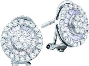 Diamond Cuff Earrings 14K White Gold 1.10 cts. GD-55851