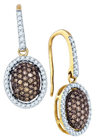 Champagne Diamond Earrings 10K Yellow Gold 0.76 cts. GD-81606