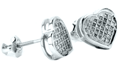 Ladies Diamond Heart Earrings 10K White Gold 0.15 cts. GD-50451