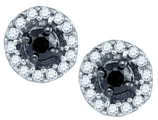 Black Diamond Fashion Earrings 10K White Gold 0.20 cts. GD-83404