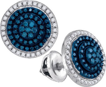 Blue Diamond Earrings 10K White Gold 0.55 cts. GD-88787