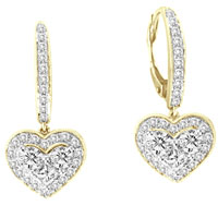 Ladies Diamond Heart Earrings 14K Yellow Gold 1.00 ct. GS-21182