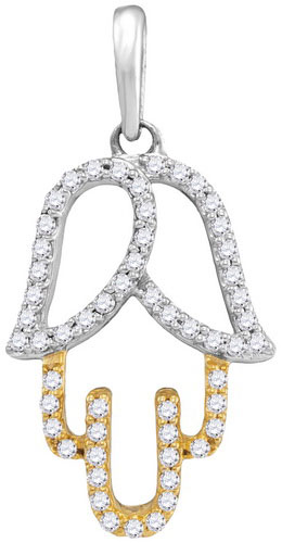 Diamond Hamsa Fashion Pendant 10K Two Tone Gold 0.18 cts. GD-105783