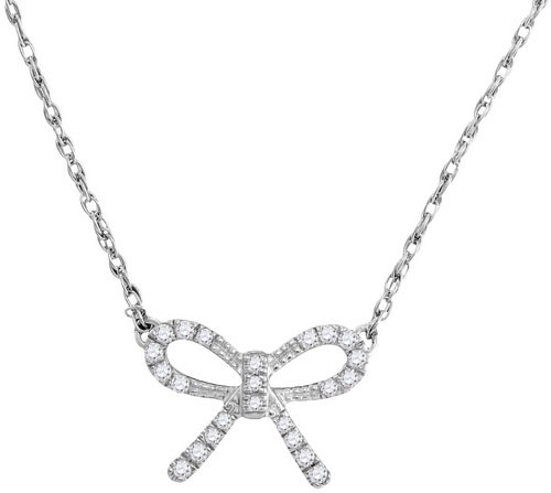 Diamond Bow Fashion Pendant 10K White Gold 0.10 cts. GD-105883