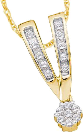 Diamond Cluster Pendant 14K Yellow Gold 0.25 cts. GD-19720