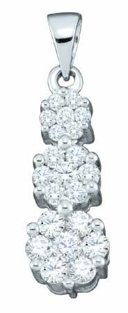Diamond Cluster Pendant 14K White Gold 1.00 ct. GD-19730