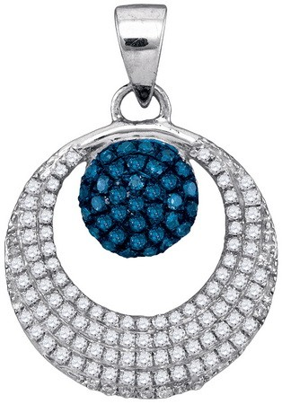 Blue Diamond Fashion Pendant 10K White Gold 0.40 cts. GD-88774