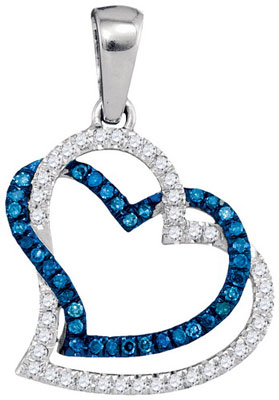 Blue Diamond Two Heart Pendant 10K White Gold 0.20 cts. GD-89951