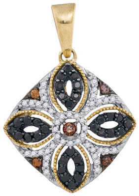 Color Mix Diamond Pendant 10K Yellow Gold 0.45 cts. GD-92596