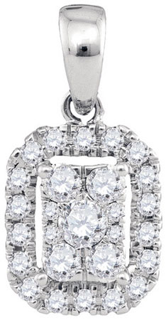 Diamond Cluster Pendant 14K White Gold 0.35 cts. GD-94334