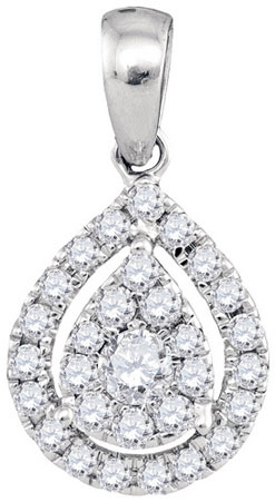 Diamond Cluster Pendant 14K White Gold 0.35 cts. GD-94336
