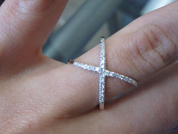 14k solid gold cross ring 14k gold X Ring
