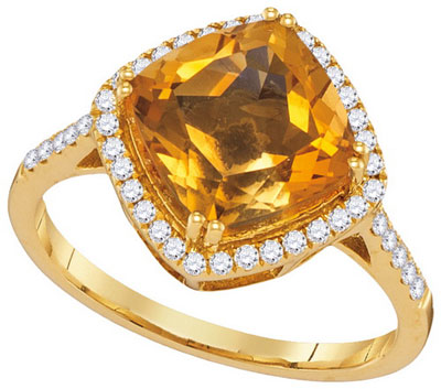 Ladies Diamond Citrine Ring 14K Yellow Gold 2.76 cts. GD-104915