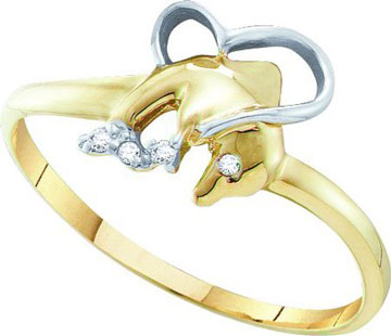 Ladies Diamond Dolphin Ring 10K Yellow Gold 0.32 Cts. GD 55433