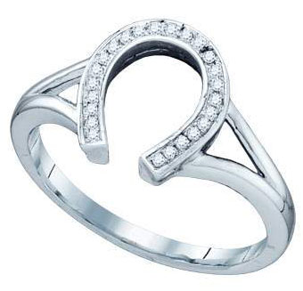 Ladies Diamond Horse Shoe Ring 10K White Gold 0.07 cts. GD-55956