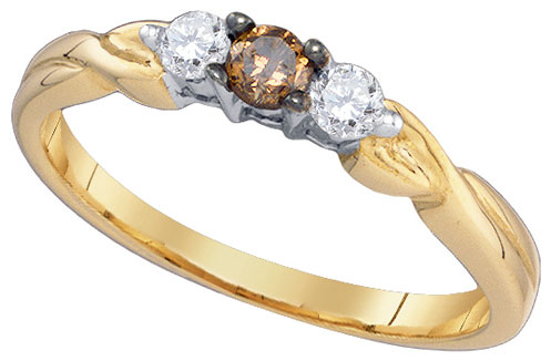 Cognac Brown Diamond Ring 10K Yellow Gold 0.25 cts. GD-79131