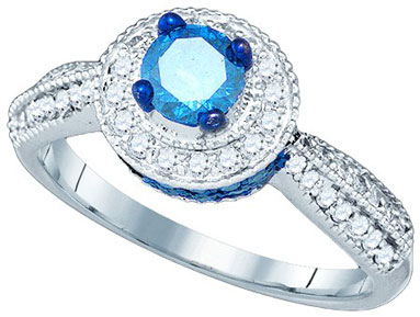 Blue Diamond Fashion Ring 10K White Gold 1.16 cts. GD-79187