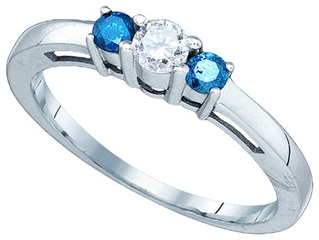 Blue Diamond Fashion Ring 10K White Gold 0.37 cts. GD-81449