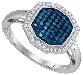 Blue Diamond Fashion Ring 10K White Gold 0.33 cts. GD-89484