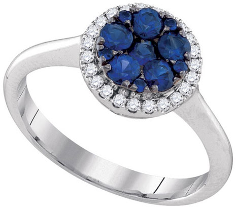 Ladies Diamond Sapphire Ring 14K White Gold 0.81 cts. GD-95455