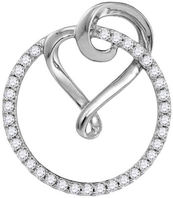 Diamond Heart and Circle Pendant 10K White Gold 0.34 cts. GD-105831