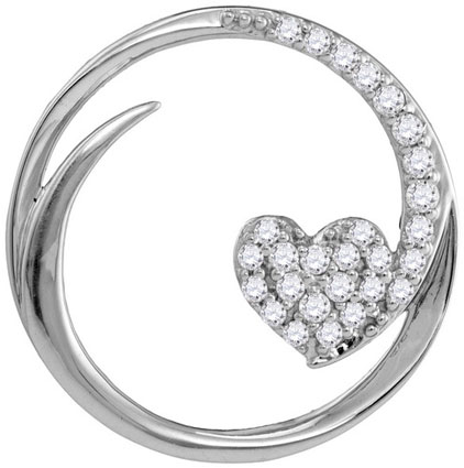 Diamond Heart Pendant 10K White Gold 0.25 cts. GD-105871
