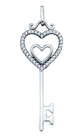 Diamond Heart Key Pendant 10K White Gold 0.10 cts. GD-64594