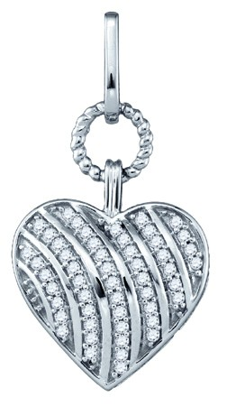 Diamond Heart Pendant 10K White Gold 0.15 cts. GD-81475