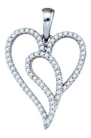 Diamond Heart Pendant 10K White Gold 0.22 cts. GD-81477