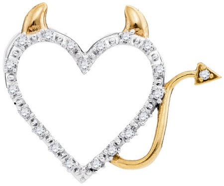 Diamond Heart Pendant 10K Two Tone Gold 0.05 cts. GD-90817