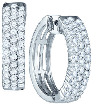 Diamond Hoop Fashion Earrings 10K White Gold 1.94 cts. GD-77189