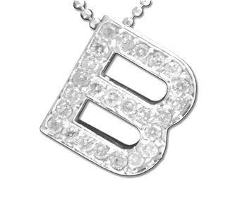 Diamond Initial Pendant 14K White Gold 0.46 cts. 6J6664-Bb