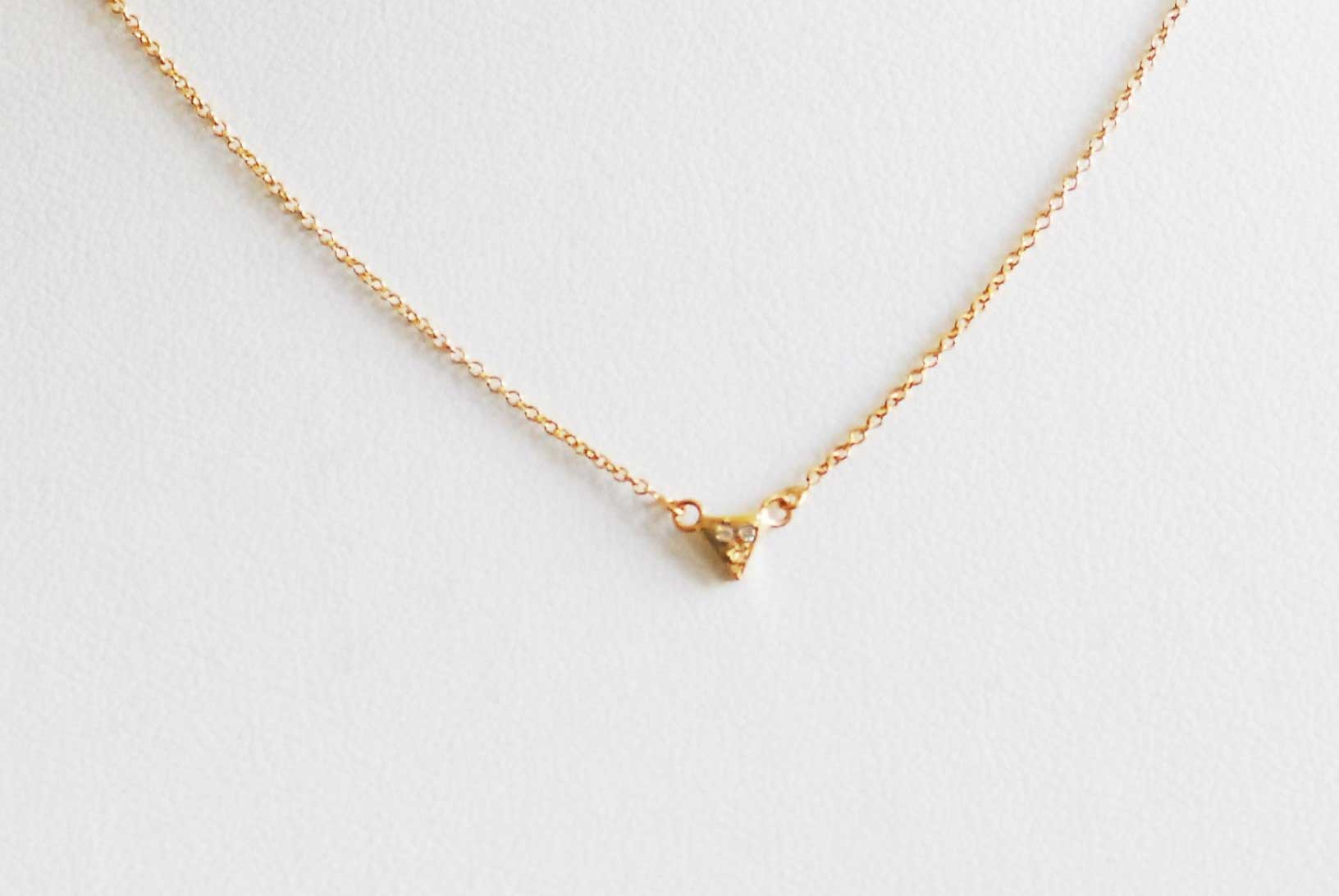 Diamond Triangle Necklace 14K Yellow Gold 0.05 cts. 6J8255