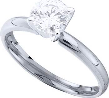 Diamond Solitaire Ring 14K White Gold 0.35 cts DSRR-035