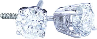 14K White Gold Round-Cut Diamond Stud Earrings 0.90 cts. GD-13296