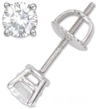 Round Diamond Stud Earrings 14K White Gold 0.60 cts.