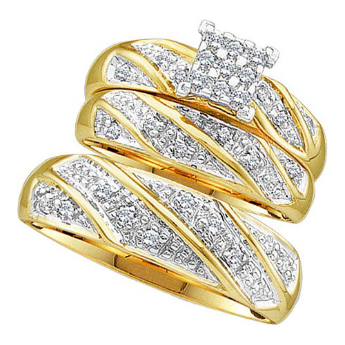 Three Piece Wedding Set 10K Yellow Gold 0.30 cts. GD-46893