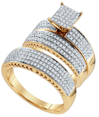Three Piece Wedding Set 10K Yellow Gold 1.00 ct. GD-67118