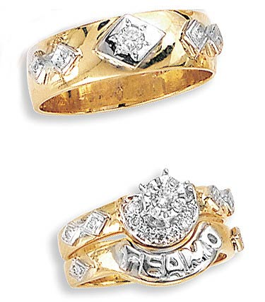 Three Piece Wedding Set 14K Two-Tone Gold 0.35 cts. JRX-10261