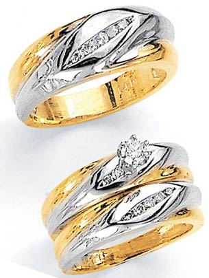 Three Piece Wedding Set 14K Two-Tone Gold 0.80 cts. JRX-2263